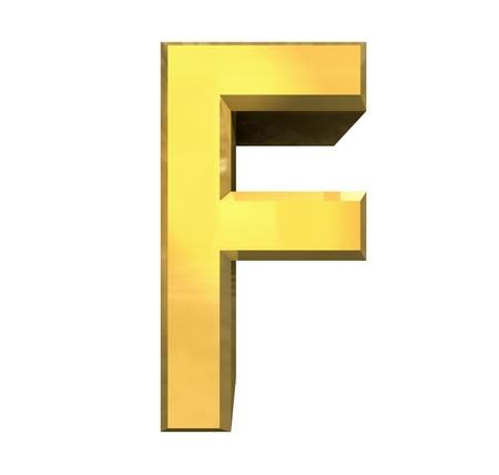 gold letters: 3d de oro letra F - 3d hecho