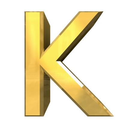gold 3d letter K - 3d made Stock Photo - 14629966