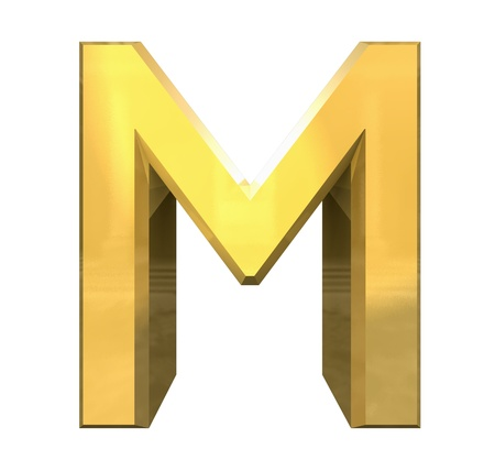 gold 3d letter M - 3d made Stock Photo - 14629968