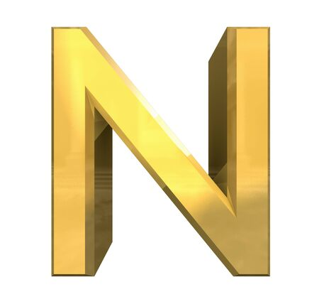 gold 3d letter N - 3d made Stock Photo - 14629970