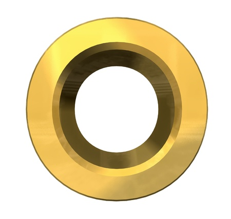 gold 3d letter O - 3d made Stock Photo - 14629978
