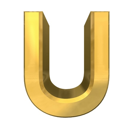 gold 3d letter U - 3d made Stock Photo - 14629969