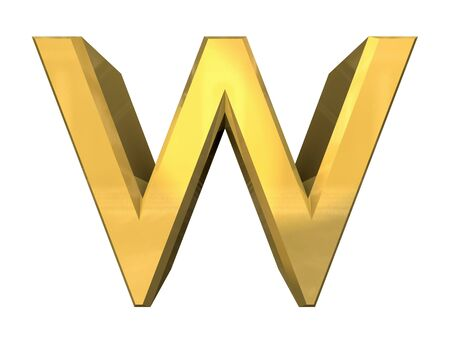 gold 3d letter W - 3d made Stock Photo - 14629983