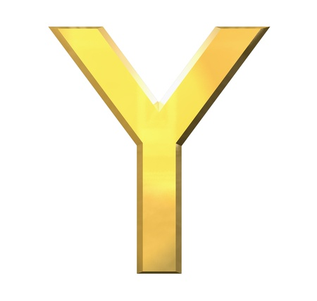 playschool: gold 3d letter Y - 3d made Stock Photo
