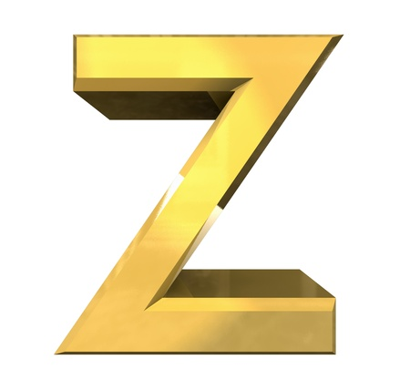gold 3d letter Z - 3d made Stock Photo - 14629963