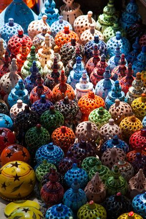 Tunisian Lamps at the Market in Djerba Tunisia detail photo
