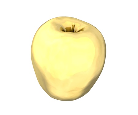 big apple: Golden apple on white background  High resolution 3D made