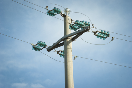 isolator insulator: Power line pylon Stock Photo