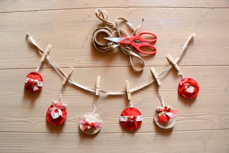 chabby: Christmas chabby chic decorations.handmade felt decorations, scissors and lanyard Stock Photo
