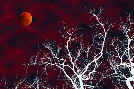 Illustration of white silhouette dead tree with blood moon in bloody sky