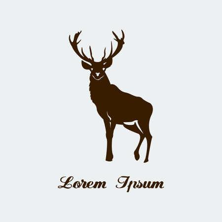 moose hunting: Vector stencil of forest deer.  Illustration