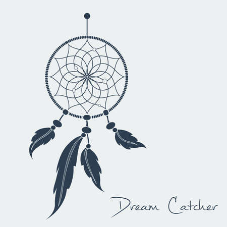 native american art: vector dream catcher black.