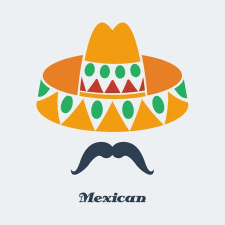 Vector mexican man mustache sombrero. Flat color  Vector
