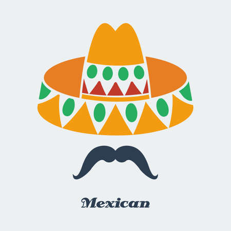 mexican culture: Vector mexican man mustache sombrero. Flat color  Illustration