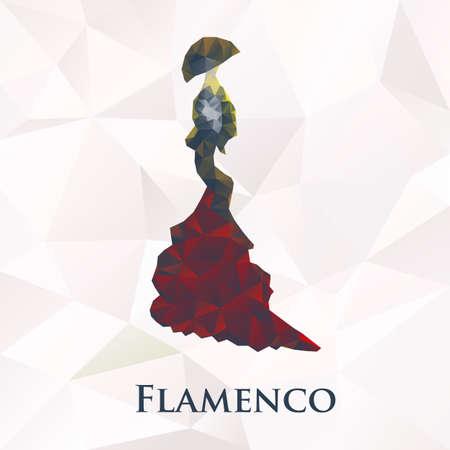 danseuse flamenco: Vecteur flamenco symbole femmes danseur. Illustration polygonale