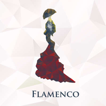flamenco dress: Vector flamenco women dancer symbol. Polygonal illustration
