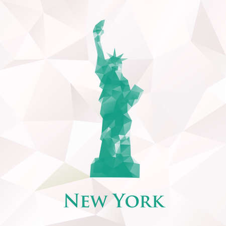 paper sculpture: Vector statue of liberty new york symbol. Polygonal illustration