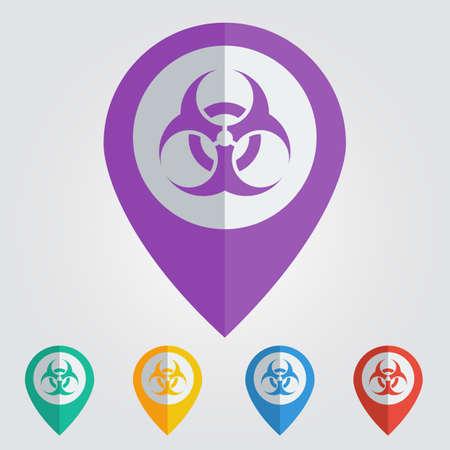 germ warfare: Vector biohazard sign in pin.