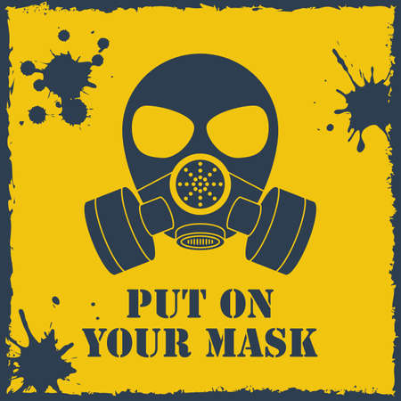 chemical weapon: Vector put on your biohazard mask