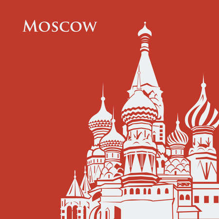 basil's: Vector Moscow Saint Basils Cathedral. postcard red background. Flat graphics