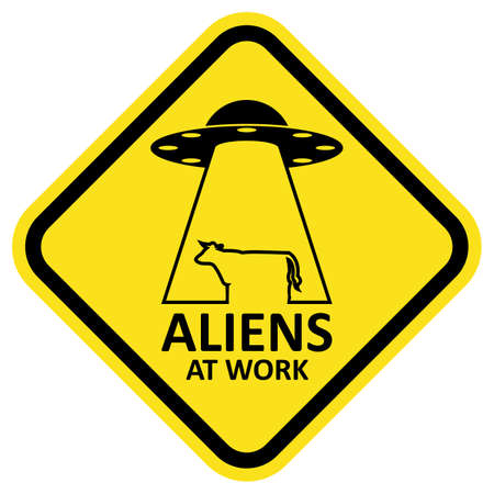 alien symbol: Vector sign aliens at work. Illustration