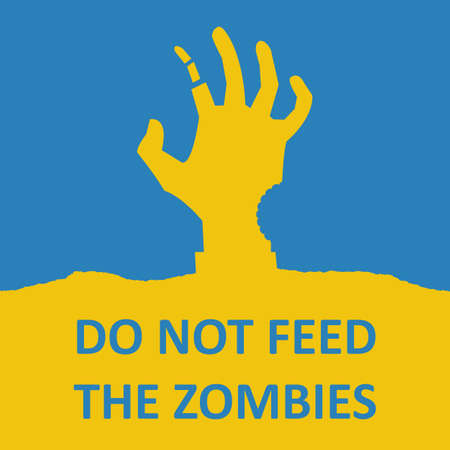 Vector poster about zombie. Blue and yellow colors. Illustration