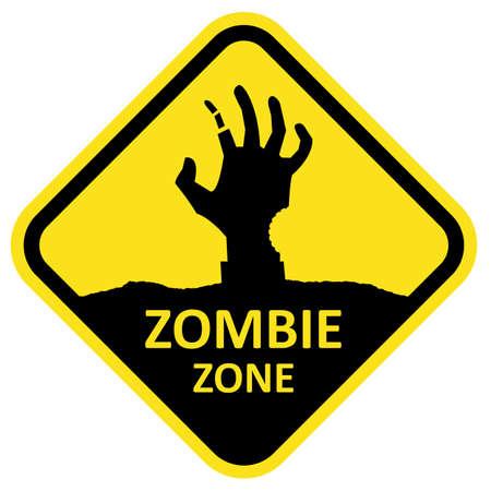 zombie hand: Vector sign zombie zone.