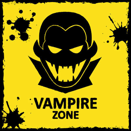 fang: Vector wall graffiti about vampire. Yellow color. Format eps 10
