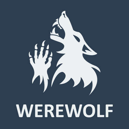 Vector werewolf stencil. Dark color.  Vector