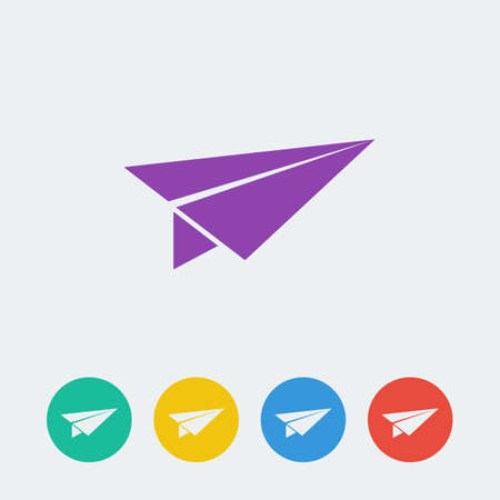 vector paper airplane flat circle icon. Vector