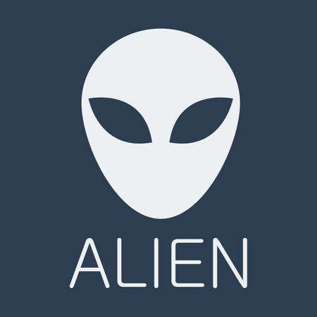 invade: Vector alien on blue background.  Illustration