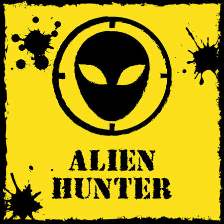 head shot: Vector alien hunter on red yellow.