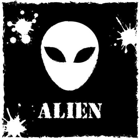 Vector alien on black background.