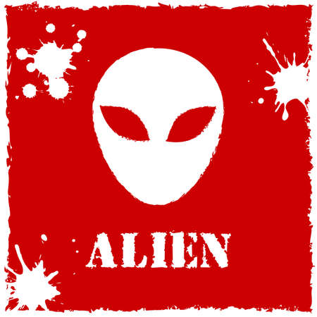 invade: Vector alien on red background.