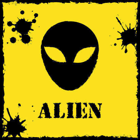 invade: Vector alien on yellow background.
