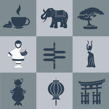 tea tree: Vector asia flat black.  Illustration