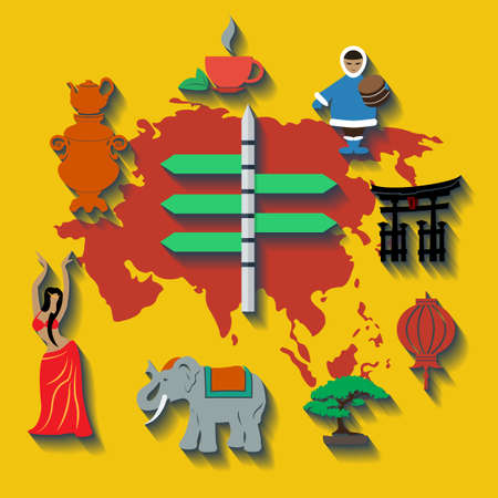 korea food: Vector asia flat color travel. Illustration