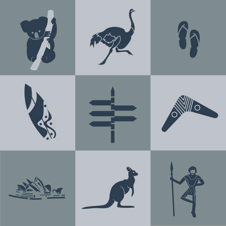 koala: Vector australia negro viajes plana. Vectores