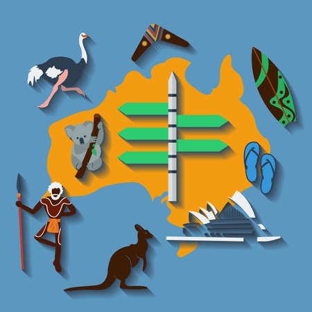wooden boomerang: Vector australia travel.