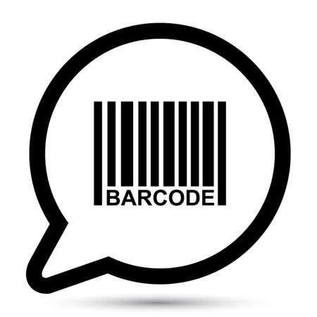 Vector bubble with barcode icon.  Vector