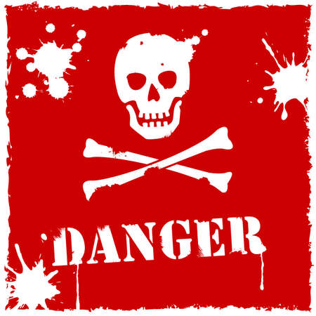 mortal danger: Vector danger icon red and white