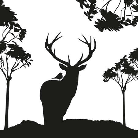 vecrot black deer in the woods stencil