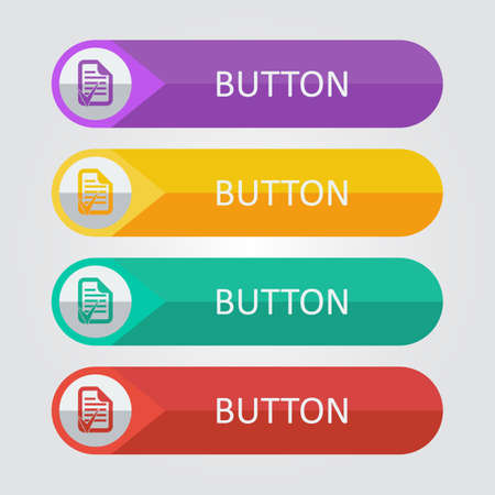 accept: Vector flat buttons with document accept icon. File format eps 10