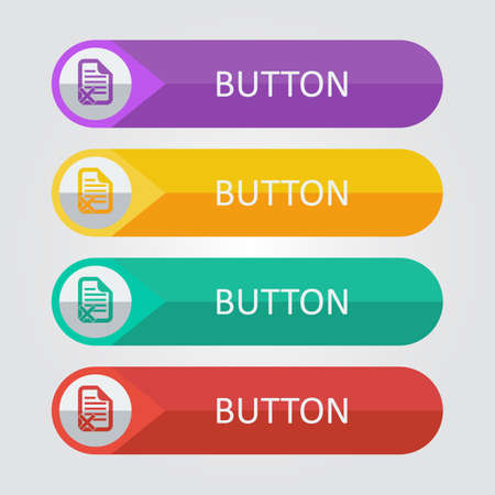 reject: Vector flat buttons with document reject icon. File format Illustration
