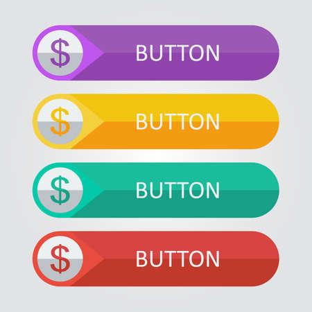 ベクトル ドル アイコンとフラットなボタン。