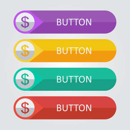 Vector flat buttons with dollar icon.