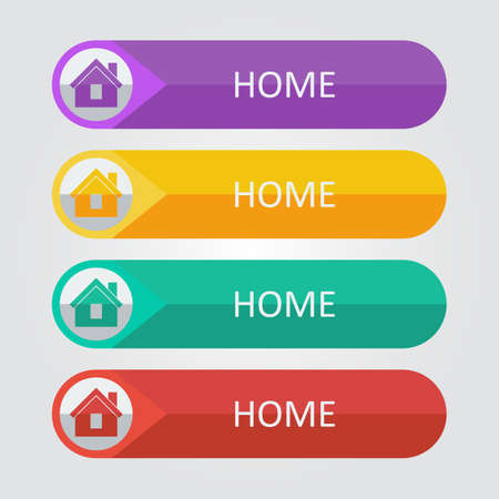 violet residential: Vector flat buttons home