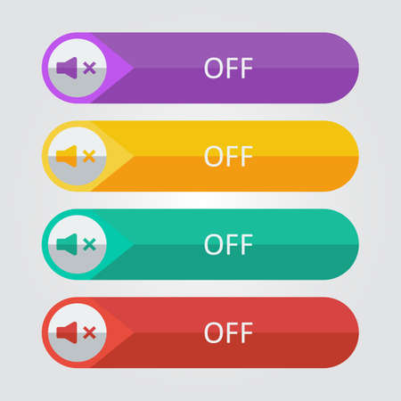 sound off: Vector flat buttons sound off. File format  Illustration