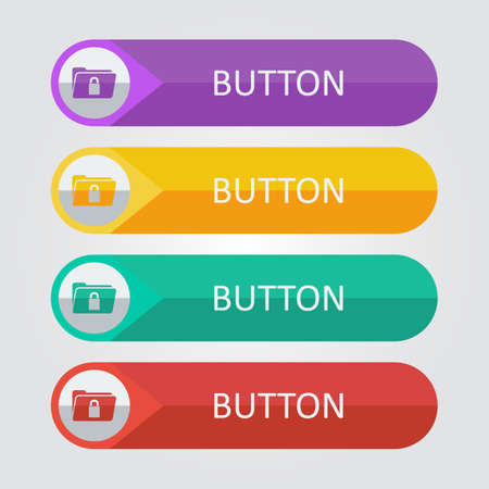 folder lock: Vector flat buttons with folder lock icon