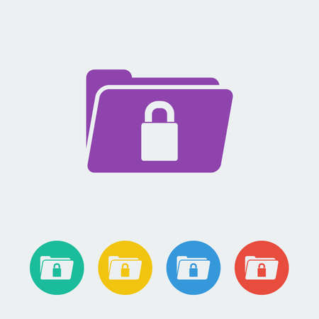 folder lock: vector folder lock flat circle icon. File format eps 10